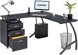 Black Corner Desk With Drawers