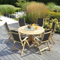 6 seater round garden table and chairs