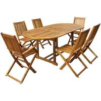 FSC Acacia Hardwood Furniture Set with Extendable Table & 6 Chairs